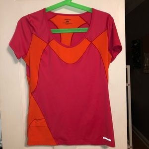 patagonia pink and orange tee shirt
